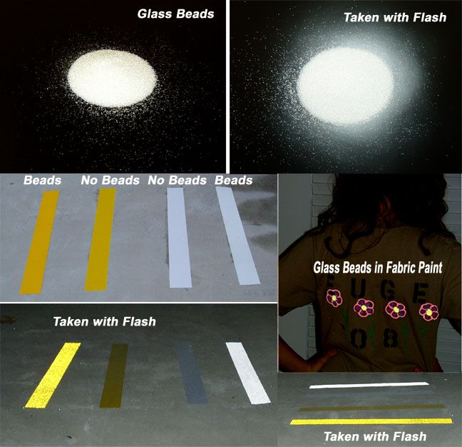 Adhesive reflective road marking glass beads